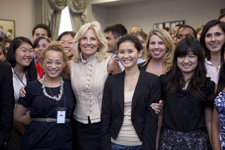 Adriane Brown to the left of Dr Jill Biden