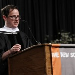 Honorary degree recipient Nate Silver delivering the keynote address at last year's commencement ceremony.