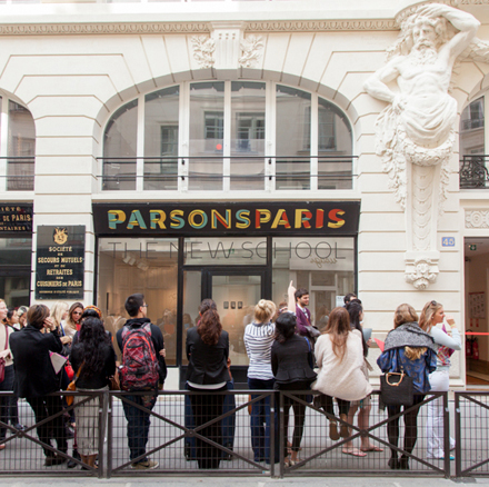 Students wait outside the door of Parsons Paris, in the 1st Arrondissement. Photo by Vinciane Verguethen.