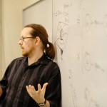 David Morgan teaches his Lang Interdisciplinary Science class Space, Time, and Einstein. Photo by Jacob Pritchard.