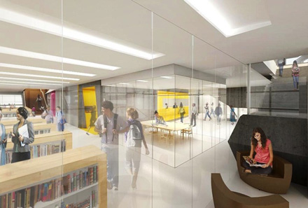 Renderings of the University Center Library space. Courtesy of SOM.