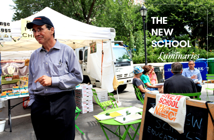 Rick McGahey, economist and new director of the EPSM master's program, oversees a pop-up class at the Union Square Greenmarket in early September. Photo by Kasia Broussalian/The New School.