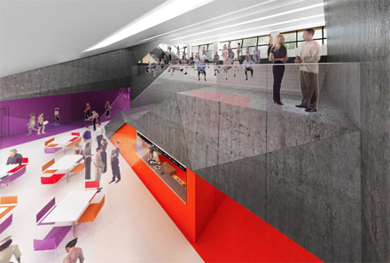 A rendering of the Event Cafe, located on the lower level of the University Center.