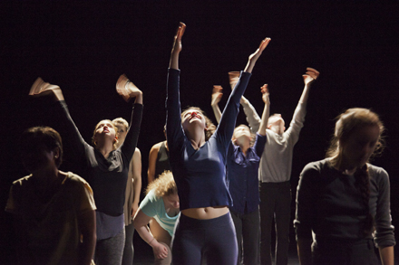 Lang students perform in a place called Mem, by David Thomson from the 2013 Movement Research Repertory class. Photo by Frank Mullaney.