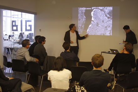 Bjarke Ingels (left) reviews one of the student projects at a mid-semester review at the BIG office. Photo courtesy of BIG.
