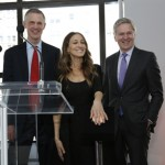 Sarah Jessica Parker with President Van Zandt and Board of Trustees Chair Joseph R. Gromek at the opening of the University Center. Photo by Michael DeVito.