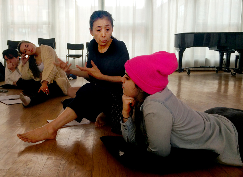 Eugene Lang College guest artist Eiko Otake leads a discussion with students in her Delicious Movement course, one of two she is teaching this semester as part of her residency. Photo by Kasia Broussalian/The New School.