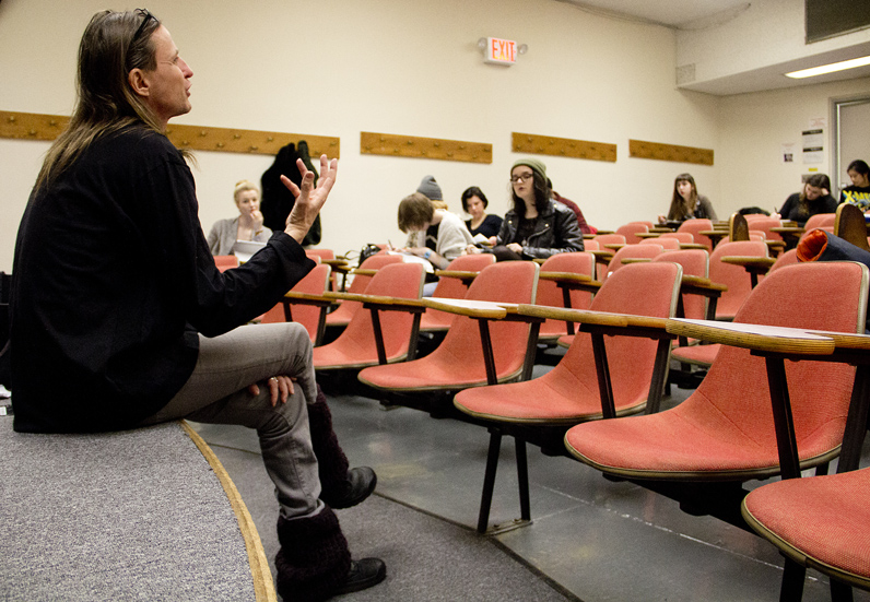 Culture and media professor Ken Wark leads a discussion on James Joyce in his Introduction to Cultural Studies course last month. Photo by Kasia Broussalian/The New School.