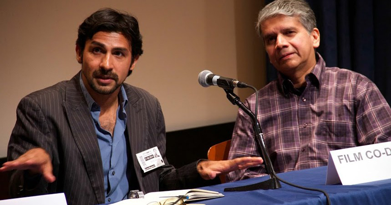 Nitin Sawhney (right) and Rafael Parra, supervising editor on the film, speaking at the UN. Photo by Amanda Ghanooni.