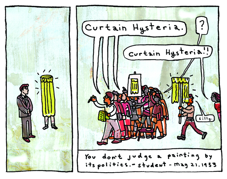 Detail from comic strip, red scare, yellow curtain, George Bates.