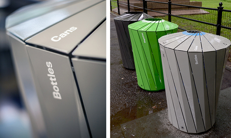 The new Central Park trash and recycling receptacles. Photo courtesy of Landor Associates.
