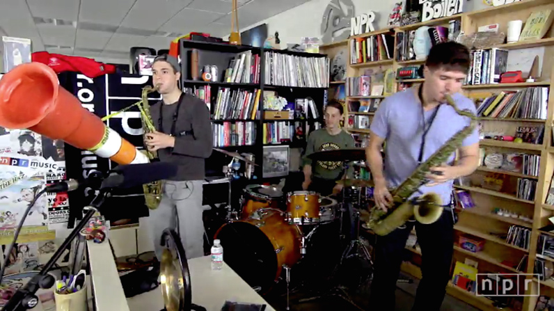 Moon Hooch performs on NPR Tiny Desk Concerts.