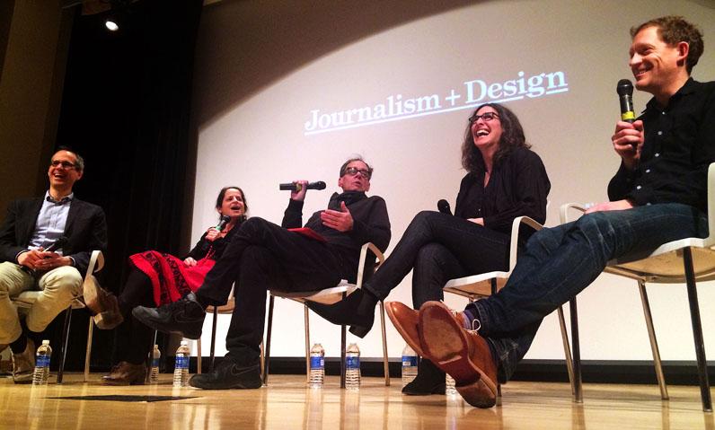 "Alex Blumberg, Alix Spiegel, David Carr, Sarah Koenig and Benjamen Walker at ""Serial and The Podcast Explosion."