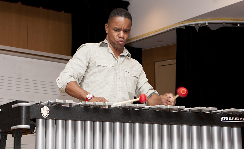 Vibraphonist Stefon Harris presents during an Eyes of the Masters class in 2011. Photo courtesy of The New School.