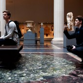 Parsons School of Design student Finn Harries (right) photographs during the #EmptyMet tour on Friday, April 17. Photo by Kasia Broussalian/ The New School