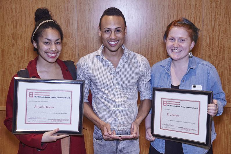 Award Recipients Aliyah Hakim, Nathaniel Phillipps, and Eli Condon