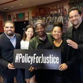 (L to R): Milano faculty Darrick Hamilton and Juliet Ellis with dean Michelle DePass and Henry Cohen Lecture Series presenters, Phaedra Ellis-Lamkins and Ben Jealous. Social justice has always been a  central component of the graduate school's mandate. Photo by Matthew Septimus.