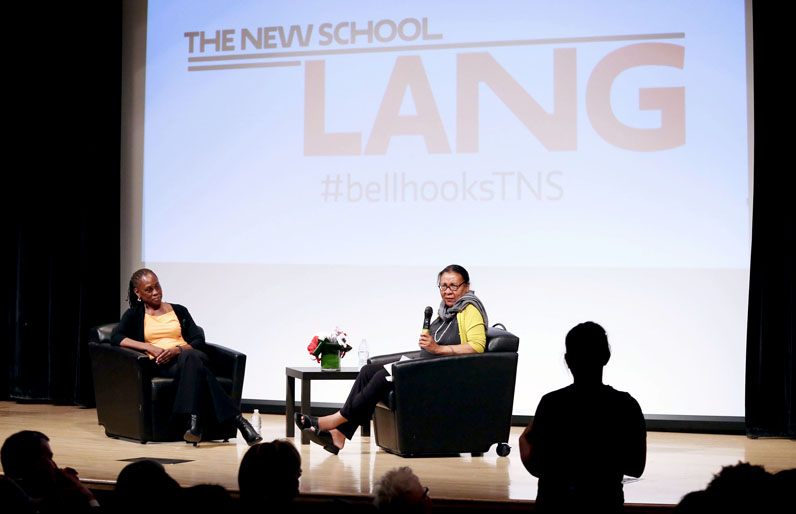 bell hooks leads a discussion with New York City First Lady Chirlane McCray during hooks' three-year residency at Eugene Lang College. Photo by Jonathan Grassi.