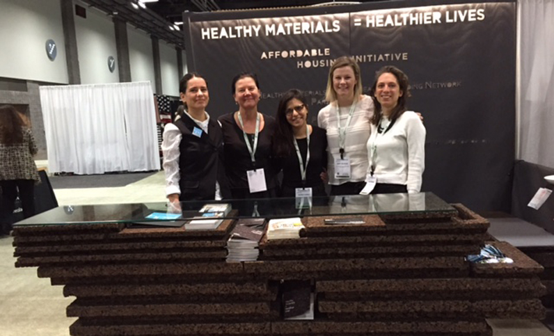Jonsara Ruth, director of design for the Healthy Materials Lab (HML) and assistant professor of Interior Design at Parsons; Alison Mears, director of the HML; Marina Cunha (MFA ID); Abby Calhoun, grants administrator for HML; and Sara Minard (MA Theories of Urban Practice '14)
