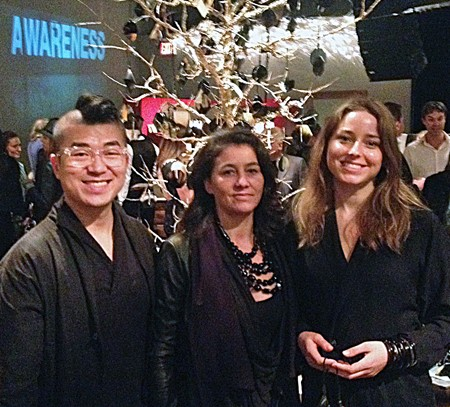 Mochi Liu (Architecture '15), Haitian designer Paula Coles<br>  and Amanda Evengard (Product Design '15)
