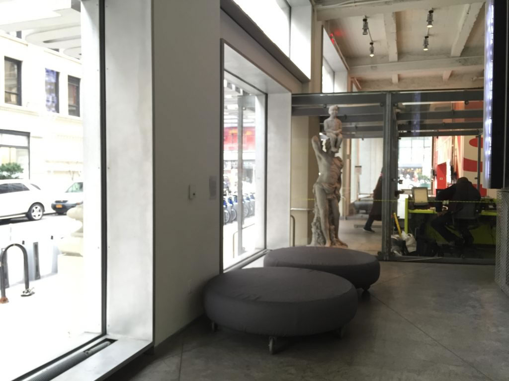 Circular Couches behind the Security Desk at Sheila Johnson Design Center, 2 West 13th