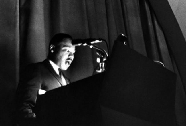 Dr. Martin Luther King Jr. speaks at The New School during the American Race Crisis lecture series in 1964.