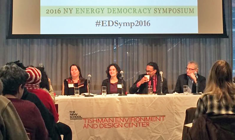 "Panelists spoke on the topic ""Racing to Energy Democracy"" at the 2016 NY Energy Democracy Symposium at The New School."