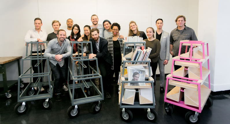Students at Parsons School of Design in collaboration with New York Public Library designed book carts for NYPL's Correctional Services Program. Photo by Phillip Van Nostrand.