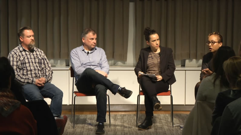 Aron Pilhofer, interim chief digital officer at <em>The Guardian</em>; Trei Brundrett, chief product officer at Vox Media; Heather Chaplin, director of Journalism + DesignStacy-Marie Ishmael, managing editor for mobile news at BuzzFeed.
