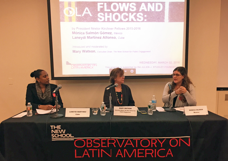 President Nestor Kirchner (PNK) Spring 2016 Fellowship awardees Monica Salmon Gomez (left) and Laneydi Martinez (right) speak with Mary Watson, dean of the Schools of Public Engagement at the Observatory on Latin America event Flows and Shocks.