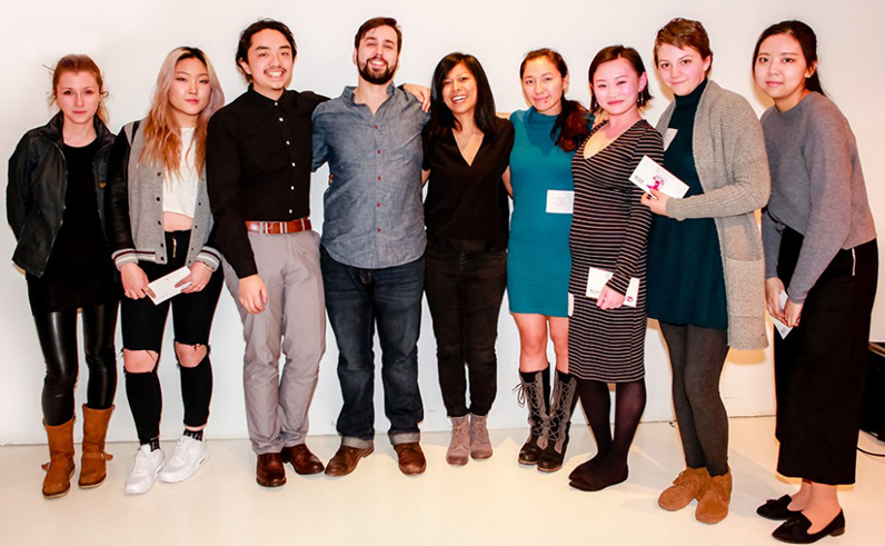 Parsons students Samuel Powers (third from left) and Leela Shanker (fourth from left) were the grand prize winners of the New York City Section's (IESNYC) Student Lighting Competition.