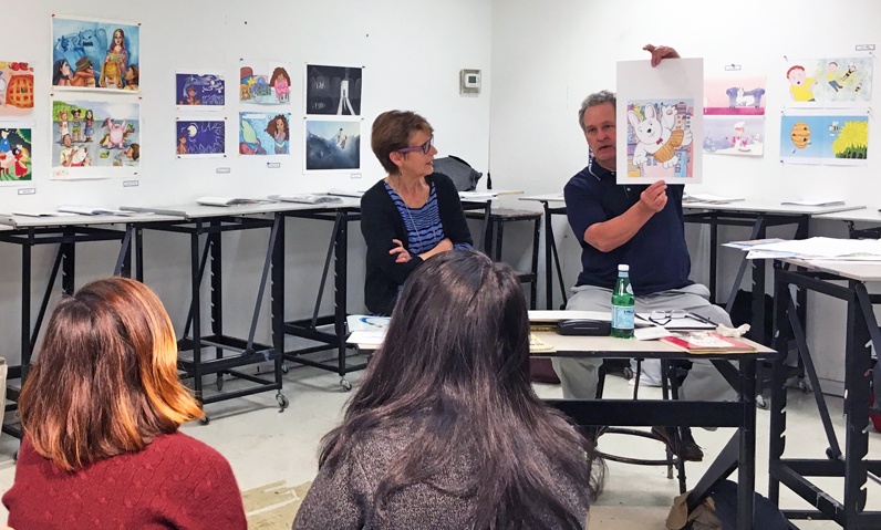 Barbara Lalicki, former editor in chief of a host of publishers, most recently HarperCollins, and Steve Herb, illustrator/author of children's picture books, review work by students in Patricia Cummings' Children's Book Illustration.