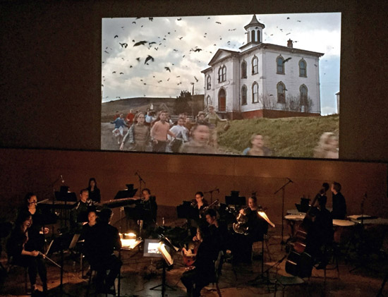 College of Performing Arts Theater Orchestra perform Jazz student Nathan Kamal's original score to <br>Alfred Hitchcock's The Birds at the third edition of (Un)Silent Film Night.