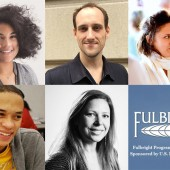 Clockwise from left: New Schoolers Alexandra Vasquez, Edward Wilcox, Ryan Reid, Nelson De Jesus Ubri, and Rebecca Hollender have been named Fulbright U.S. Student Finalists.
