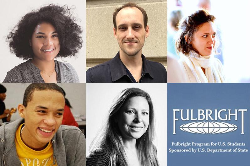 Clockwise from left: New Schoolers Alexandra Vasquez, Edward Wilcox, Ryan Reid, Nelson De Jesus Ubri, and Rebecca Hollender have been named Fulbright U.S. Student Finalists.