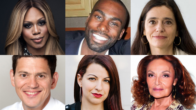 Clockwise from left: Laverne Cox, DeRay Mckesson, Mercedes Doretti, David Miliband, Anita Sarkeesian, and Diane von Furstenberg have been named honorary degree recipients by The New School.