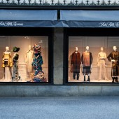 The Saks Fifth Avenue windows on E. 50th street feature pieces from graduating BFA Fashion Design students.