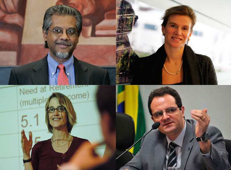 Clockwise from bottom left: Economics Department faculty members Teresa Ghilarducci and Anwar Shaikh; and alumni Mariana Mazzucato and Nelson Barbosa.