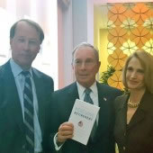"Hamilton ""Tony"" James, Michael Bloomberg, and Teresa Ghilarducci at the launch of ""Rescuing Retirement."""