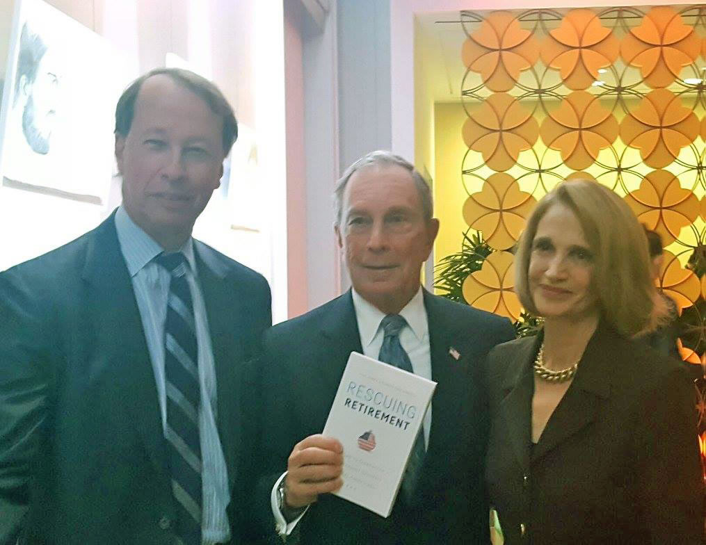 "Hamilton ""Tony"" James, Michael Bloomberg, and Teresa Ghilarducci at the launch of"