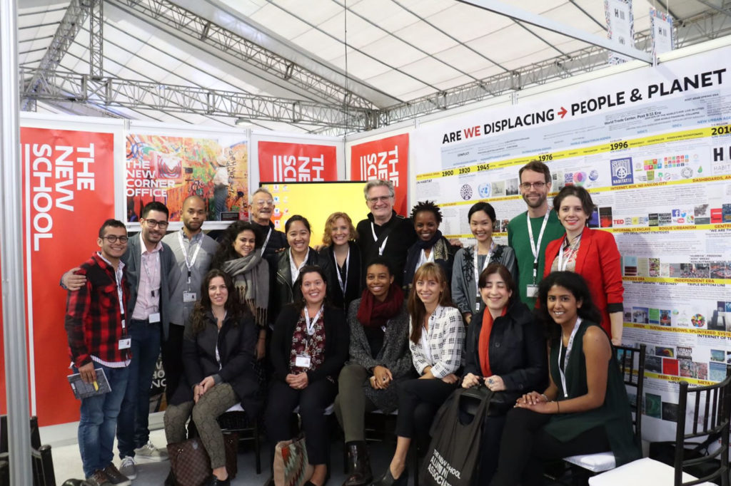 Students and faculty members in the Global Urban Futures presented findings from their Habitat Commitment Project at Habitat III in Quito, Ecuador.
