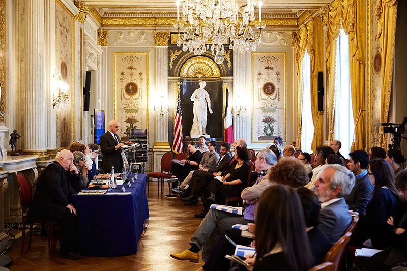 ​Will Milberg, dean of NSSR, introduces his panel on the first day of Memories & Politics of Exile held at the George C. Marshall Center in Paris. Photo by Puxan BC