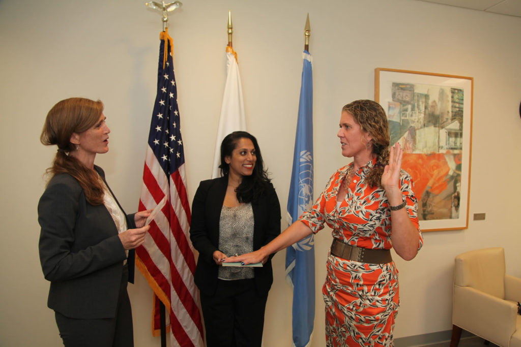 Samantha Power, United States Ambassador to the United Nations, swears in Cynthia Ryan, Lang '88, to her role as the Alternate Representative of the United States to the 71st Session of the General Assembly of the United Nations.