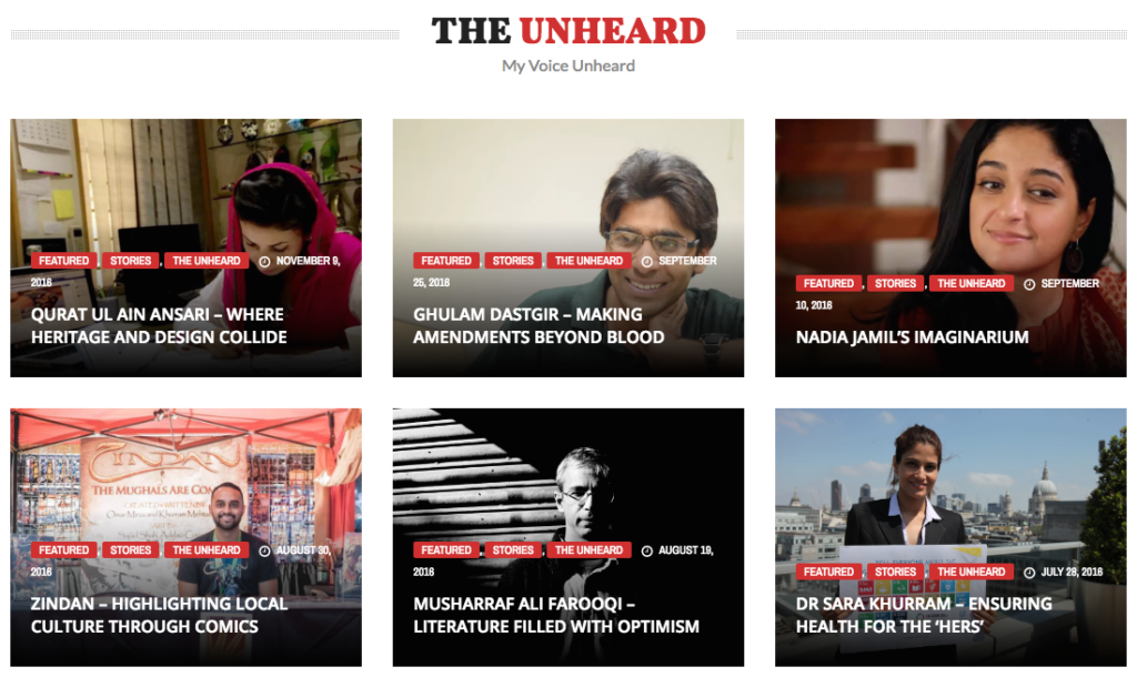 My Voice Unheard focuses on collecting, archiving, and highlighting biographies, stories, and life experiences of Pakistani individuals who are dedicated to social responsibility.