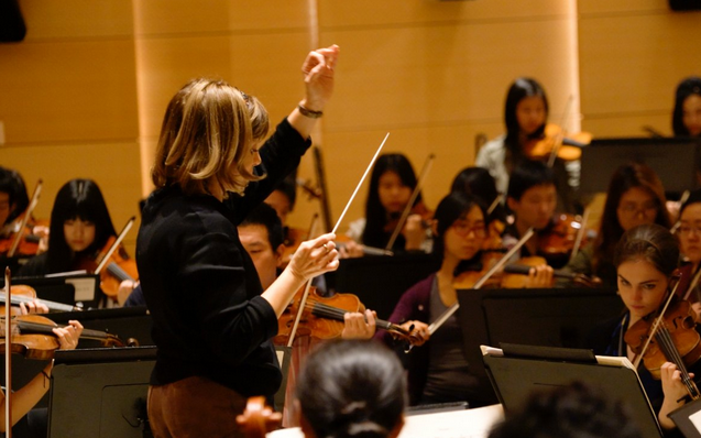 JoAnn Falletta in rehearsal with the Mannes Orchestra