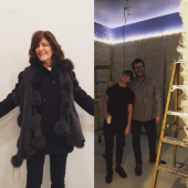 Kay Unger, Chair of the Parsons Board of Governors (left), and students at Parsons School of Design (right), install Room to Day Dream at Arianna Huffington's Thrive Global store.