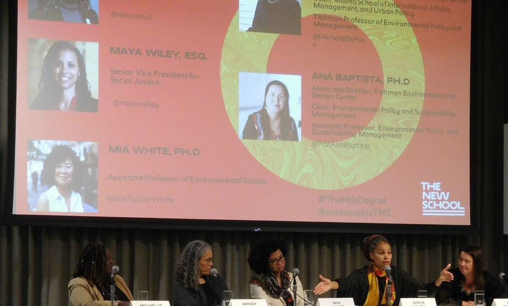 Michelle DePass, Mindy Fullilove, Mia White, Maya Wiley, and Ana Baptista spoke about environmental justice on a recent panel hosted by the Tishman Environment and Design Center.