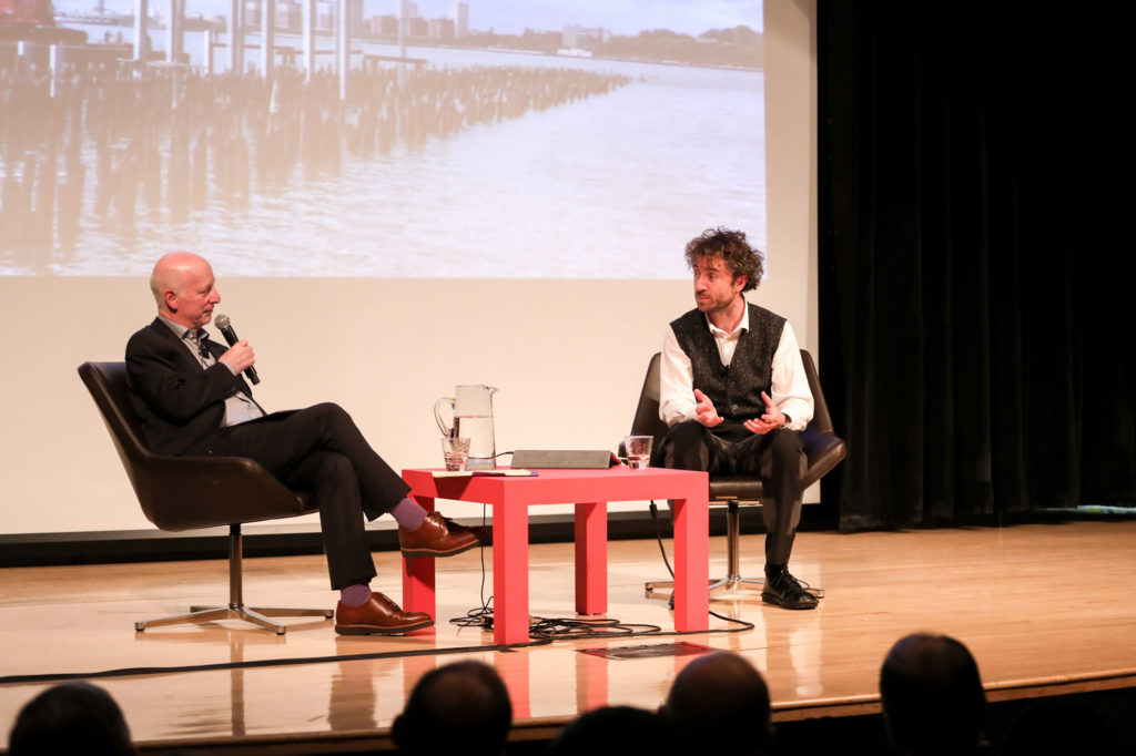 Paul Goldberger spoke with London-based designer Thomas Heatherwick during a recent At The Parsons Table appearance. Photo Credit: Jonathon Grassi