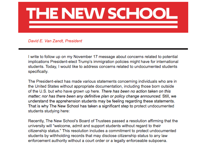 The New School Supports Students 'Without Regard to Their Citizenship Status'