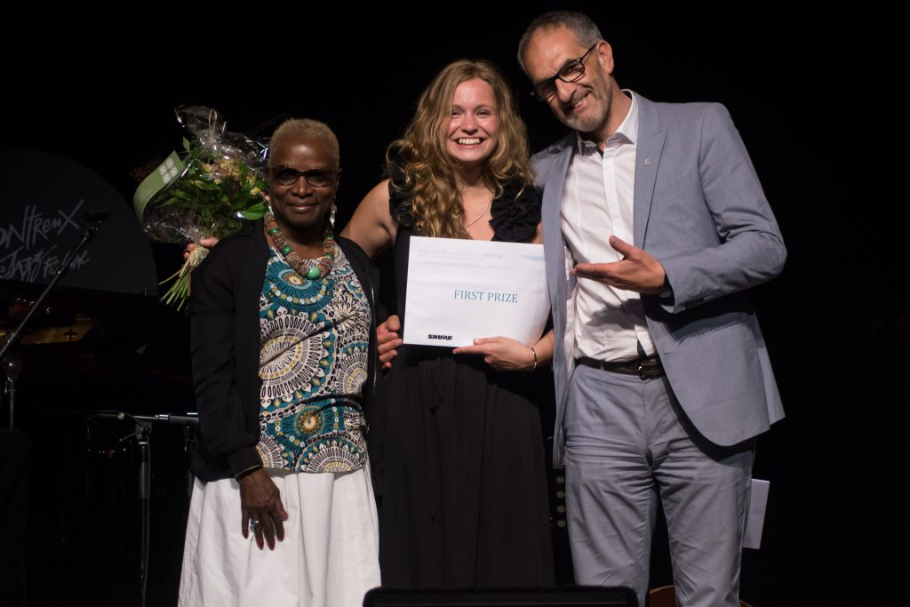 Arta Jekabsone, center, after winning first place at the Montreux Jazz Vocal Competition in Switzerland.